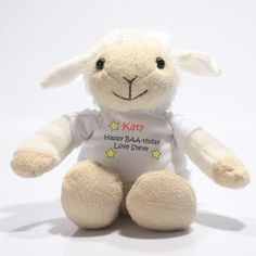 Personalised Little Lamb. Choose a message for the little lamb's t-shirt and create a huggable keepsake for a new baby. £11.99 #NewBaby #PersonalisedBabyGifts #NewBabyGifts