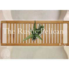 RusticPelican (160 CAD) ❤ liked on Polyvore featuring wooden bathroom accessories, wood shelf, rustic shelves, wood bathtub caddy and bathtub caddy