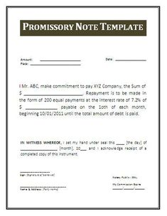Printable Sample Promissory Note Form Form  Free Printable Promissory Note Template