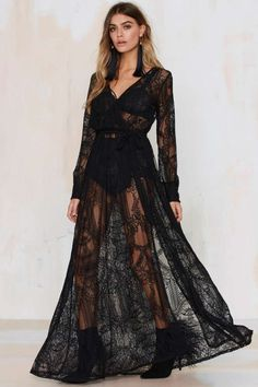 Nasty Gal One and Only Lace Maxi Dress - Black - Going Out | Dresses