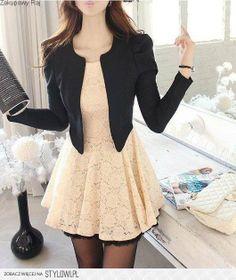 pink dress black jacket smart and elegant look