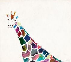 giraffe painting-- I'd love to have something like this made for my little guy!