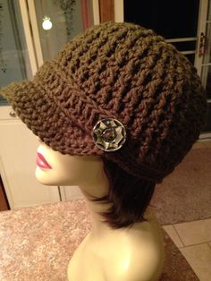 Crochet Newsboy Cap Chocolate Brown by just4tdyCrochet on Etsy, $30.00