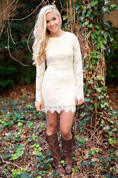 Cream lace long sleeve dress with high brown boots for fall