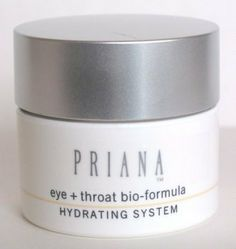 EYE & THROAT BIO-FORMULA pH 5.5 by Priana. $32.95. Lightweight, white creme with antioxidant and firming properties.. Also, hydrates and regenerates the skin.. An advanced treatment containing beta glucans, hyaluronic acid, vitamins A & E and squalane provide superb components to smooth, tighten and diminish the appearance of fine lines around the eyes, throat and décolleté areas.