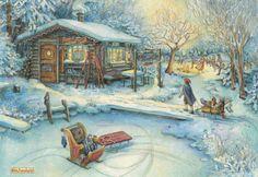 Kim jacobs, праздник, дети, деревня, санки, домик, 1600x1100.jpg (1600×1100)