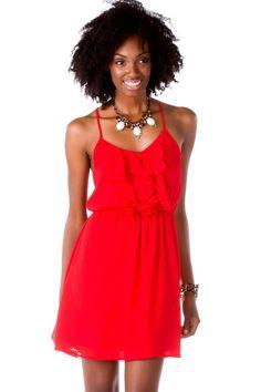 University Parks Ruffle Dress-  red-cl