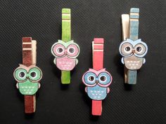 Owl clothes pin magnets