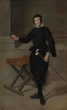 From the collection of the Cleveland Museum of Art on view at Galeries Nationales du Grand Palais in Paris, Île-de-France in Velazquez exhibit (3/25/2015 - 7/13/2015).Pictured above: Portrait of the Jester Calabazas, c. 1631-1632 Diego Velázquez (Spanish, 1599-1660) oil on canvas, Framed - h:199.30 w:133.10 d:12.70 cm (h:78 7/16 w:52 3/8 d:5 inches) Unframed - h:175.00 w:106.00 cm (h:68 7/8 w:41 11/16 inches).