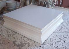 Classic Elegance II Square Wedding Cake Stand Modern Vintage - Extra Large Painted Wood Cake Riser Base. $160.00, via Etsy.