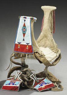 A Crow beaded saddle