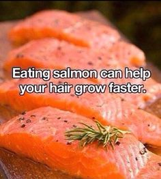 I saw this pic and thought that's a good excuse to eat healthier BUT my all natural Hair, Skin and Nails supplements produces AMAZZZING results and I don't have to eat a boat load if salmon! I've been using the HSN since it come out in Jan of this yr. After 2 mths my hairdresser asked what the heck I was using doing to my hair!! Thicker, broken pieces actually growing out, softer etc. Yep! Hair, skin and Nails does the locks, eyebrows , skin and lashes good!! www.wrapsbytiffanybrown.com
