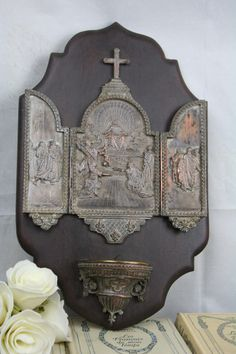 1880 French Silver PL Tryptich Solomon Judgement Scene Religious Holy Water Font | eBay