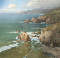 """K. Gavin Brooks """"Palisades on the Pacific"""" - oil on canvas"""