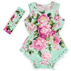 2016 novo Romper Do Bebê Menina Bonita verão Romper Flor Pom Pom Rosy floral…