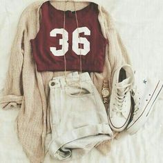 fall outfit, teen outfit, urban style, urban fashion, white Converse, ripped jeans, urban jeans, denim shorts, graphic tee, urban tee, red tee, burgundy tee, cream cardigan, fall cardigan, autumn sweater, graphic tee, gold necklaces, summer style, summer outfit, summer fashion