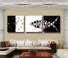 Hand Painted Paintings Abstract Clock Pictures On Canvas Painting For Living Room Decor Wall Fish Oil Paintings Hang Pictures(China (Mainland))