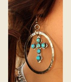 OLD MEXICO TURQuoise CROSS HOOPS