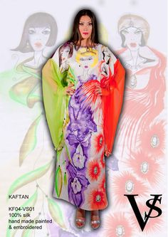 """Kaftan KF04-VS01 - Composition 100% Silk - Hand Painted & Embroidered - Sizes Italian (from 38 to 62 tailored) - Limited Edition Series (maximum 100 Pieces for model) - """"Violetta Smik"""" is produced by Sephirot Productions of Milan under the brand """"4SuckerS"""" - 100% MADE IN ITALY - 100% NATURAL FIBRES AND ECOLOGICAL - 100% HAND PAINTED - 100% HAND EMBROIDERED - Try it to believe! Authorized seller: Showroom SD Multibrand Milano street Visconti di Modrone 30. www.violettasmik.com"""