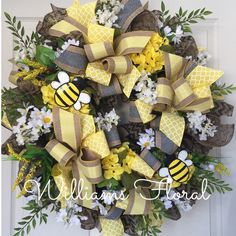 Bumble Bee Burlap Spring and Summer Mesh Wreath by WilliamsFloral on Etsy https://www.etsy.com/listing/227304704/bumble-bee-burlap-spring-and-summer-mesh
