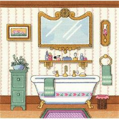 Janlynn Victorian Bath - Cross Stitch Kit. This package contains 14-count Aida, 6 strand 100% cotton floss, one needle, one graph and instructions. Design: Vict