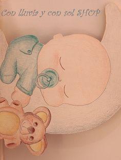 Decoración infantil personalizada y letras decorativas: SILUETA INFANTIL: BEBÉ DURMIENDO EN LUNA