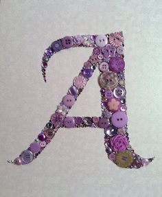 CUSTOM Button Monogram Button & Swarovski Art by BellePapiers, $84.00