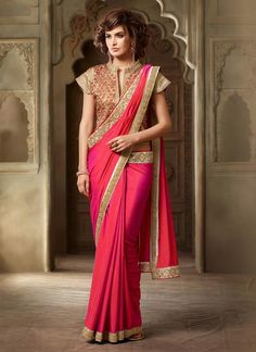 Buy latest style sarees, designer sarees, bollywood sarees online. Huge collection of latest designs. Ideal hot pink silk classic designer saree for party and wedding.