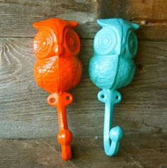 Hey, I found this really awesome Etsy listing at https://www.etsy.com/listing/228068538/cast-iron-owl-hook-hanger-in-orange-and