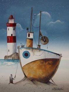 Gary Walton originals and prints at Beaulieu Fine Arts♥🌸♥ Seaside Art, Illustrations, Illustration Art, Lighthouse Painting, Boat Art, Naive Art, Learn To Paint, Whimsical Art, Acrylic Art