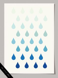 Ombre Raindrops Poster - free printable