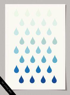 FREE printable nursery wall art :ombre  raindrops / Blog Milk Blog