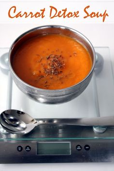 Carrot, Cumin and Ginger Detox Soup - onion, fresh ginger, oil, carrots, cumin powder, vegetable or chicken stock, cumin seeds