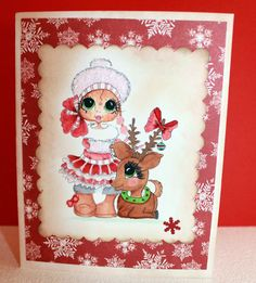 Holiday Greeting Card/Christmas card / Card with Reindeer on Etsy, $5.00