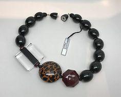 Fabulous Angela Caputi Large Black, Burgundy Resin Beads & Lucite Necklace