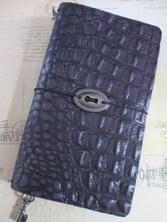 Regular size Midori Style Traveler's notebook in deep purple mock croc. etsy: bypaperflower fb: bypaperflower bypaperflower.blogspot.com
