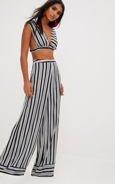 88747ba35acf7f Black Contrast Stripe Mix Wide Leg Trousers