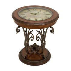 Aspire Home Accents 13909 Clock Face Accent Table, Multicolor Decor, Furniture, Clock, Side Table, Glass Top Table, Metal Table, Table, End Tables, Wood Table
