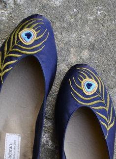 Indigo Flats with Peacock Embroidery, so chic! $195