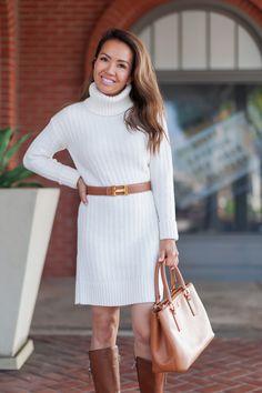 Cozy Sweater Dress + Cognac Boots - Stylish Petite One of my favorite (non-frumpy!) winter looks! Sweater Dress Outfit, Long Sleeve Sweater Dress, Fall Outfits, Casual Outfits, Cute Outfits, Work Outfits, Dress Outfits, Creative Work Outfit, Cognac Boots