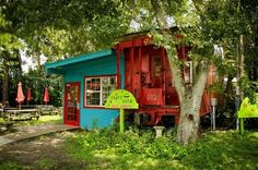 Old caboose at Railroad Square Art Park in Tallahassee Florida