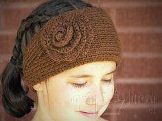 Knit ear warmer with Crochet flower!