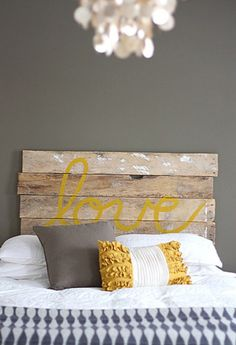 i would stain it a little darker maybe... but i love the word written on a headboard maybe even the word...Faith or Believe