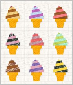 Paper piecing quilts - NEW PATTERN! Who wants ice cream! Ice Cream Swirl Mug Rug – Paper piecing quilts Mug Rug Patterns, Quilt Block Patterns, Quilt Blocks, Pattern Blocks, Beach Quilt, Paper Quilt, Summer Quilts, Fabric Postcards, Foundation Paper Piecing