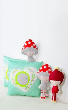 mint heart kids pillow and veggie dolls - Mushroom doll and Pomegranate doll - by PinkNounou