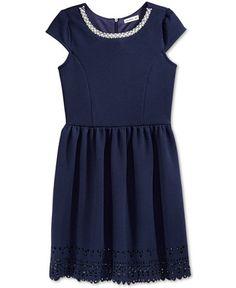 Monteau Girls' Embellished-Neck & Cutouts Dress