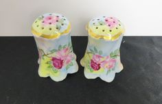 Beautifully Handpainted Salt and Pepper Shakers Rose Red Pink Floral Footed Porcelain Asian Germany Austria by NewOxfordVintage on Etsy
