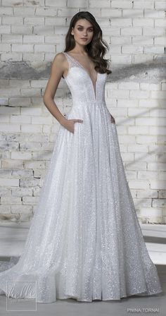 The new Pnina Tornai wedding dresses have arrived! Take a look at what the latest Pnina Tornai bridal collection has in store for newly engaged brides. Wedding Dresses Near Me, Wedding Dress Cost, Wedding Dress With Pockets, V Neck Wedding Dress, Gorgeous Wedding Dress, Bridal Dresses, Gown Wedding, Lace Wedding, Sparkly Wedding Dresses