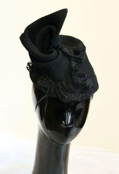 Black Flet Lace Hat by CHUCHU NY