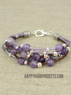 Layered Leather Beaded Bracelet